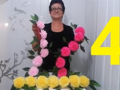 Aula 4 - Como fazer Arranjo com Flores de papel crepom parte 2 - Artesanato