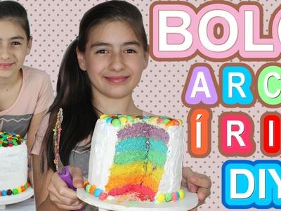 Bolo Arco Íris Como Fazer Colorido em Camadas (Receita, DIY) Colorful Rainbow Cake