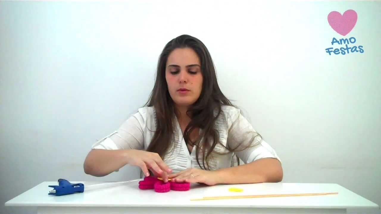 Como fazer uma linda flor com papel crepom - tutorial de decoração. DIY