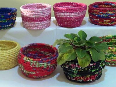 DIY - Cestas de corda e tecido. Baskets ​​of rope and fabric. Cestas de cuerda y la tela