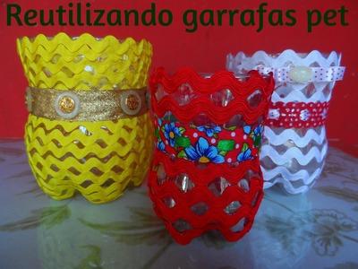 DIY - POTINHOS DE GARRAFA PET .