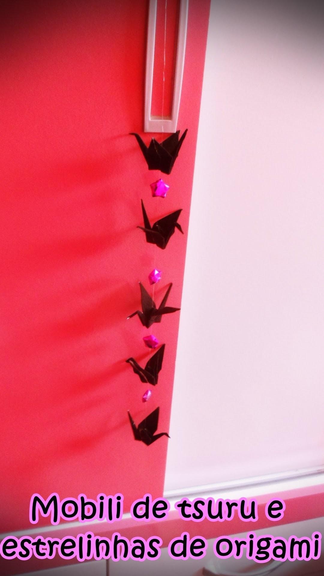 Mobili de tsuru e  estrelinhas de origami