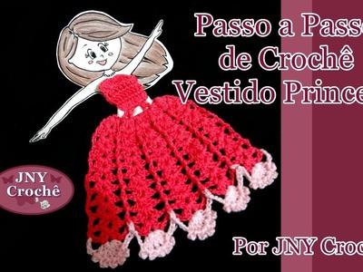 Passo a Passo Vestido de Crochê Princesa para aplicação por JNY Crochê