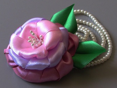 Rosa de  Cetim com tres camadas Passo a Passo  -Pink satin ribbons