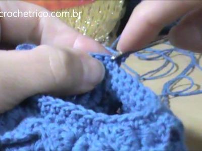 Crochê - Sapatinho para Bebê em Ponto Escama (0 à 3 meses) - Parte 05.05