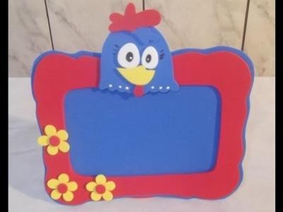 Como fazer porta retrato da galinha pintadinha em eva