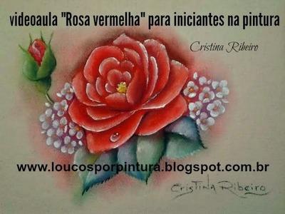 """Como pintar """"Rosa vermelha"""" - Pintura em tecido"""
