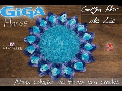 Giga Flor De Liz Azul em crochê - Professora Simone
