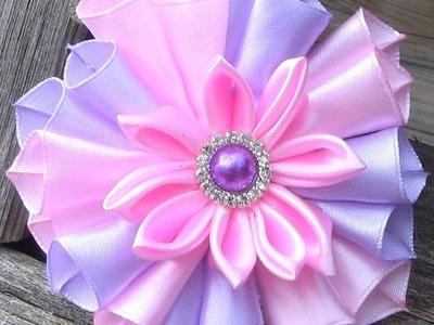 Linda Flor em fitas de cetim Passo a Passo - flower on satin ribbon