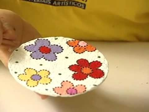 TECA SILVESTRE PINTANDO ARTE - Reciclagem de CD com papel Machê