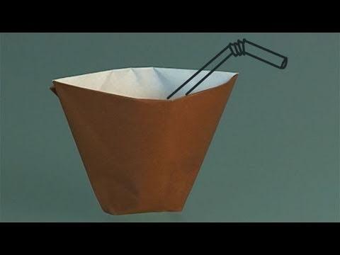 Um copo de papel, como fazer origami