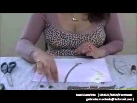 AnaGGabriela-Vídeo Aula 07 - Pulseira com tiras de couro fio de strass ouro velho e dourado
