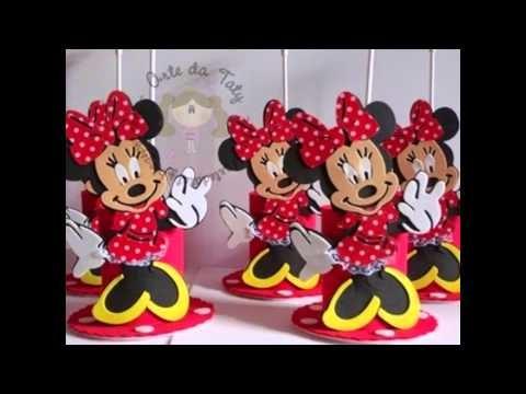 Centro de mesa para festa infantil Minnie Mouse