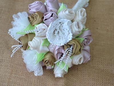 Como fazer bouquet de noivas com flores de tecidos ♥