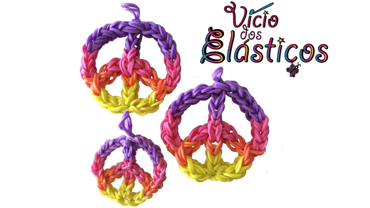 Como fazer símbolo da paz de elásticos no tear - Rainbow Loom