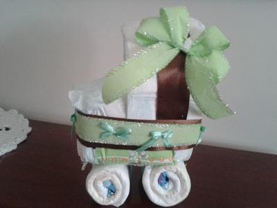 Como Fazer um Carrinho de Fralda - Decoração Chá de Bebê