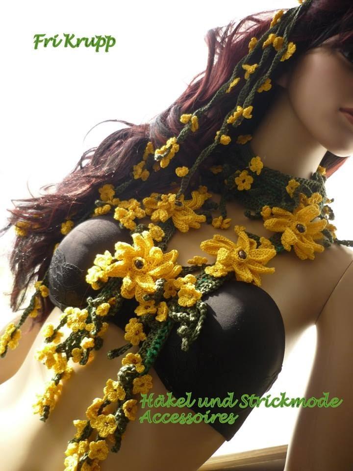 "Cordao de flores em croche ""Venus "" Häkelblume Hallskette ""Venus "" Scarf, lace, Bufanda Scarf.wmv"