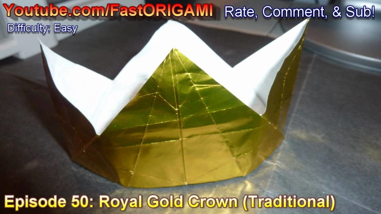 How to make Royal Gold Crown Origami 冠折り紙 Corona 王冠 coroa Mahkota korona венец