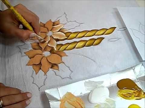 Pintura em tecido - Vela e Flor de Natal - How to paint Christmas