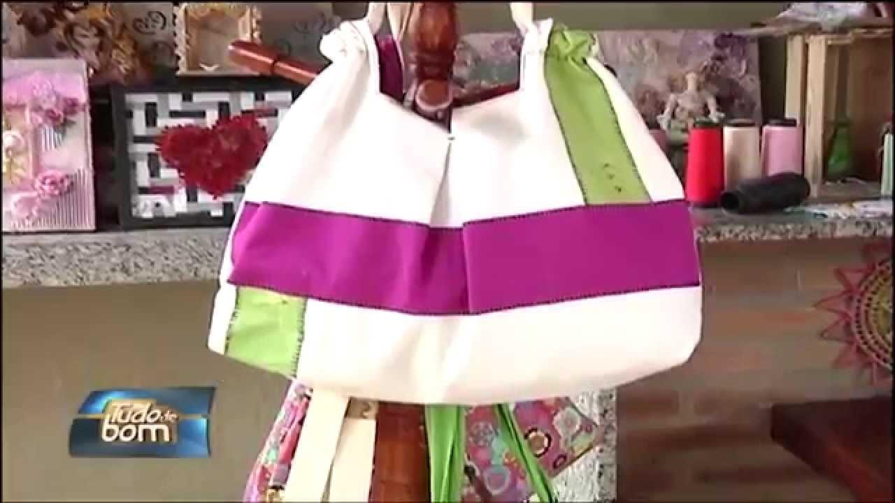 TUDO DE BOM - Artesanato, bolsa de tecido.