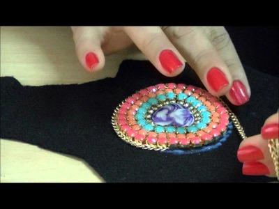 AnaGGabriela - Vídeo-Aula 108 - Colar com coração, fios de strass, franja de correntes e gota