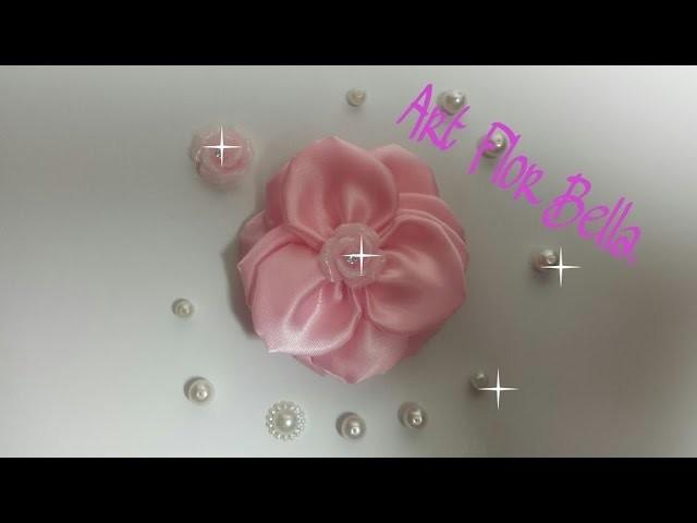 COMO FAZER UMA ROSA, USANDO SOLDADOR サテンテープの花