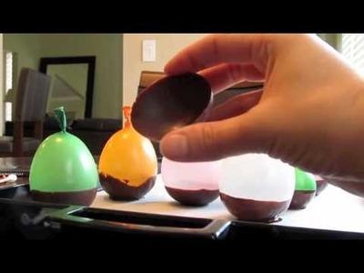 Copinhos de chocolate feitos com balao