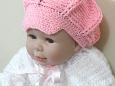 CROCHE PARA CANHOTOS - LEFT HANDED CROCHET - BOINA RELEVO BABY PARA CANHOTOS