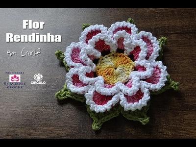 Flor Rendinha em crochê - Professora Simone