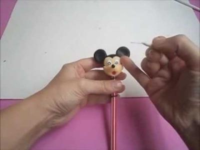 Mickey  (ponteira de lápis) - aula de biscuit