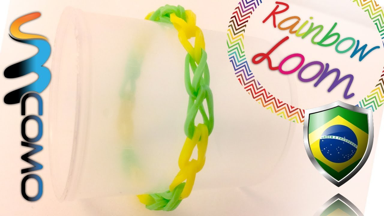 Rainbow Loom - Pulseira Single Band com as cores do Brasil