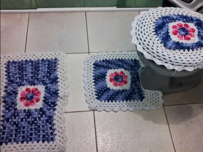 Jogos de banheiro e cozinha feito em crochê e barbante