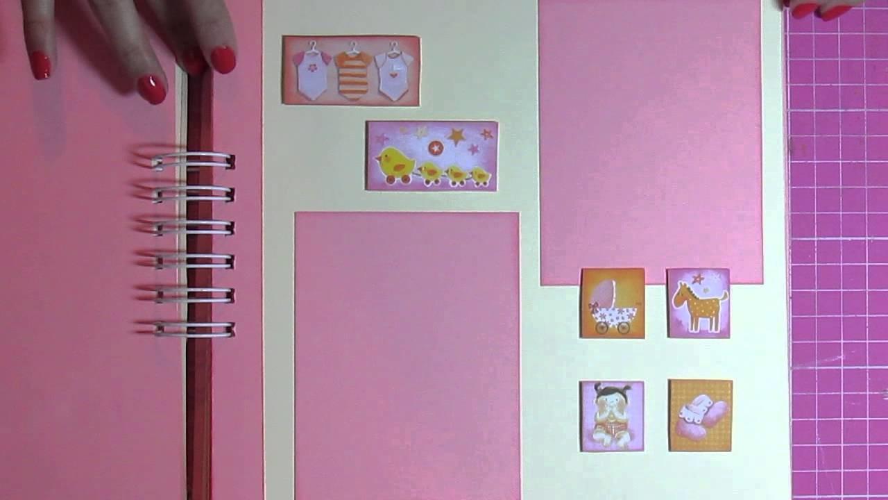 Mini album Scrapbook - bebê menina