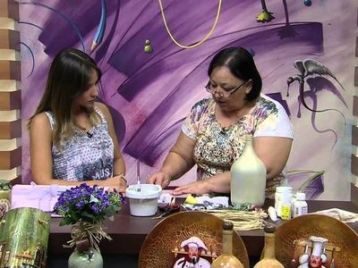 Mulher.com 09.01.2015 Rose Rodriguues - Garrafão de vidro com decoupagem Parte 2.2