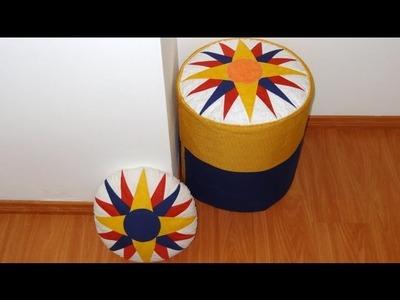 Patchwork - Capa para puff e almofada Estrela - Aula de patchwork - Técnica de patchwork