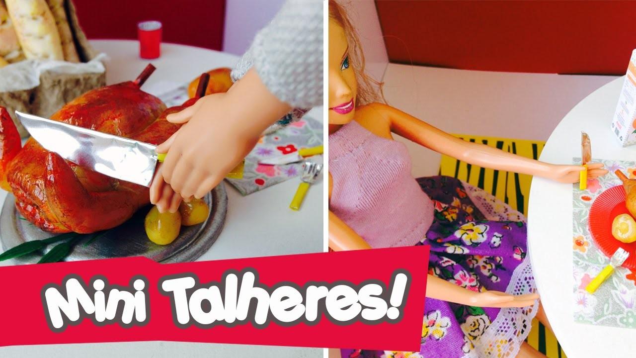 Talheres (garfo, faca, colher) para bonecas Barbie e Monster High