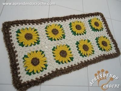 Tapete de Croche Girassol Rei - 1º Parte - Aprendendo Crochê