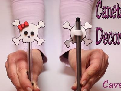 Caneta decorada - Caveira - Ponteira para caneta em EVA