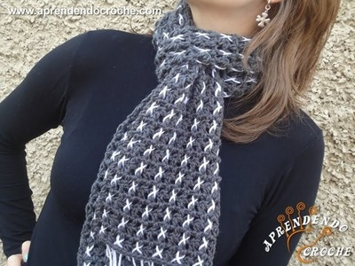 Cachecol de Croche Xistrado - Aprendendo Crochê