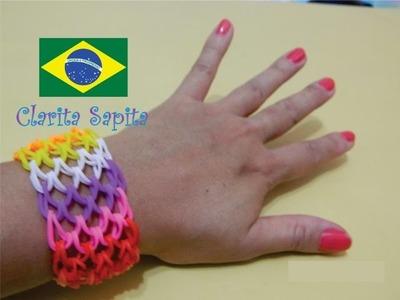 Como fazer uma pulseira escama de dragão de elástico (Rainbow loom) #2