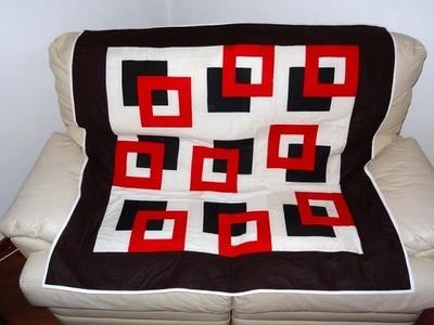 Manta colcha ou panô.painel em patchwork Os quadrados - Maria Adna Ateliê - Cursos de patchwork