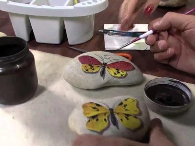 Mulher.com 06.06.2013 Mauricio Moraes - Pintura na pedra borboleta Parte 2.2
