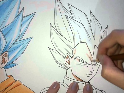 Speed Drawing - Goku and Vegeta (SSGODSS - Dragon Ball Z: Fukkatsu no F)