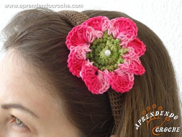 Tiara Revestida em Croche - Aplicação de Flor - Aprendendo Crochê
