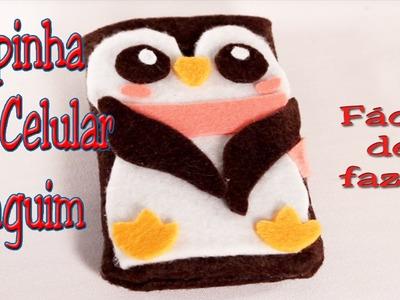 Como fazer uma  Capinha de celular de Pinguim - Muito fácil de fazer