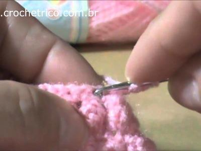 Crochê - Colete Pipoca (0 à 3 meses) - Parte 03.05