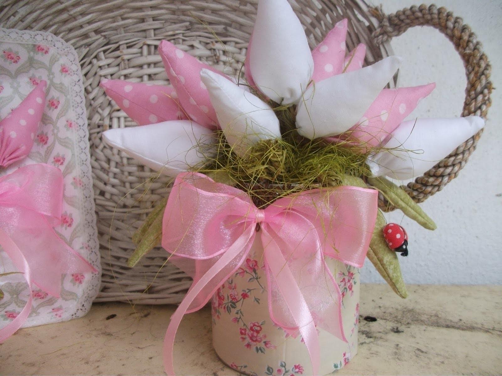 DIY: Faça você mesma, Decoração com tulipas de tecidos ♥