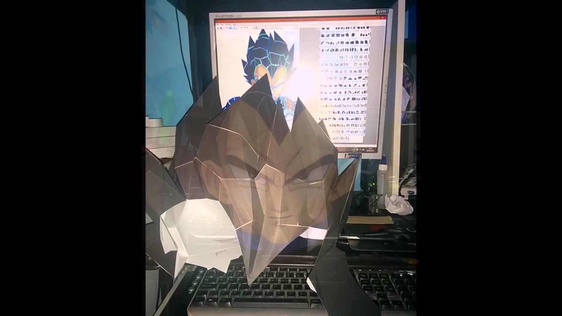 DRAGON BALL - Montagem de Vegeta em Papercraft (tamanho real).