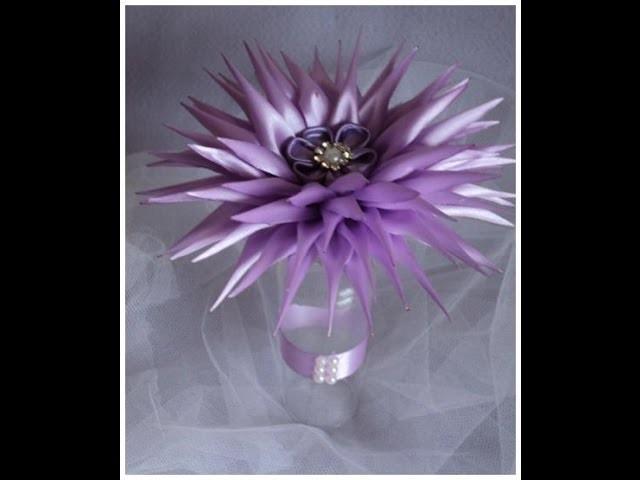 Enfeite flor lilás para mesa  de casamento.Lilac Flower Kanzashi
