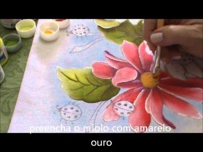 Pintura em Tecido para Iniciantes Flores e Folhas Parte II